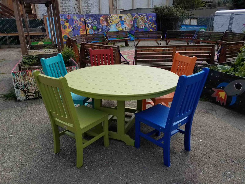 Colorful chairs ready for youthful artists